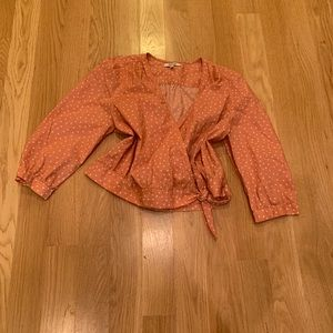 Madewell Star print cropped blouse size large